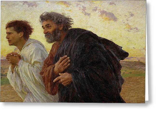 Apostles Peter And John Hurry To The Tomb On The Morning Of The Resurrection Greeting Card by Celestial Images
