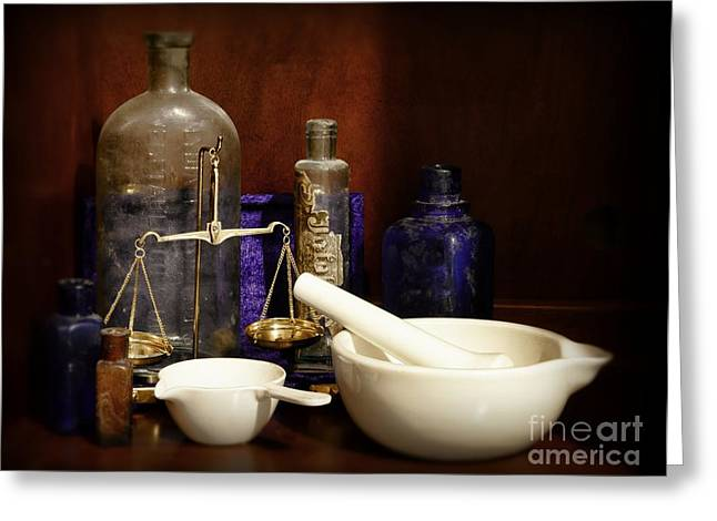 Apothecary - Mortar Pestle And Scales Greeting Card by Paul Ward