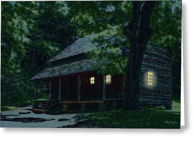Rustic Home - Smoky Mountain Cabin Lights Greeting Card by Barry Jones
