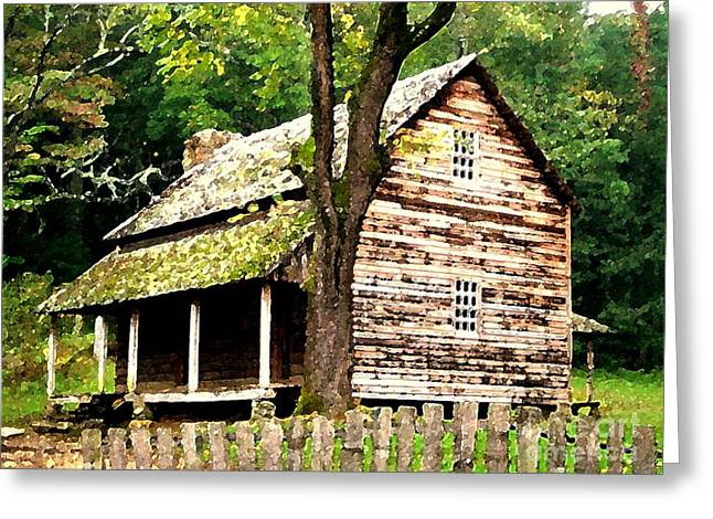 Appalachian Cabin Greeting Card by Desiree Paquette