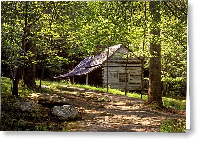 Appalachian Mountain Log Cabin Greeting Card by Paul W Faust -  Impressions of Light