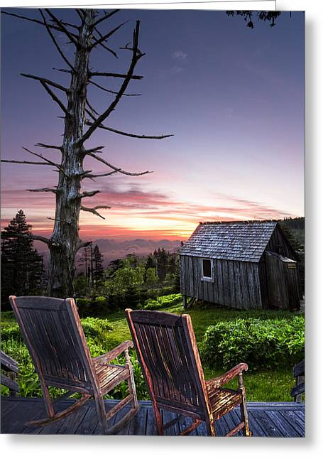 Appalachian Porch Greeting Card by Debra and Dave Vanderlaan