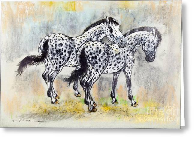 Appaloosa Horses Greeting Card by Kurt Tessmann