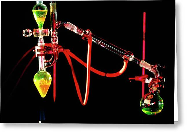 Apparatus Used For Chemical Distillation Greeting Card by David Taylor/science Photo Library