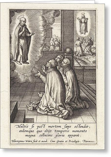 Appearance Of Ignatius Loyola To Three Jesuits Greeting Card by Hieronymus Wierix