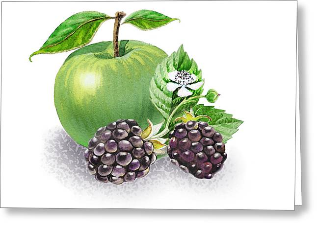 Apple And Blackberries Greeting Card by Irina Sztukowski