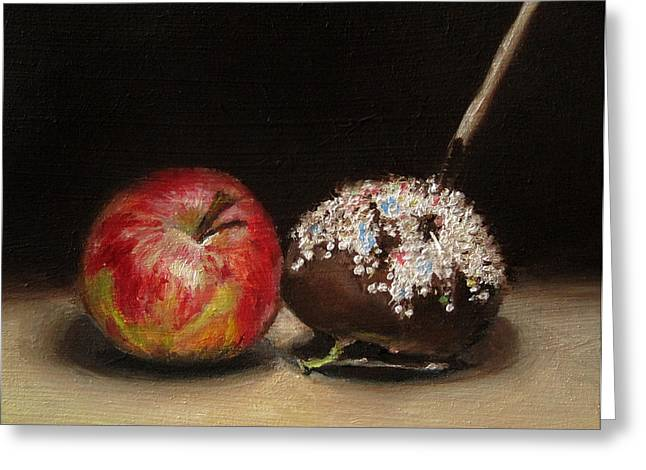 Apple And Chocolate Greeting Card by Ulrike Miesen-Schuermann
