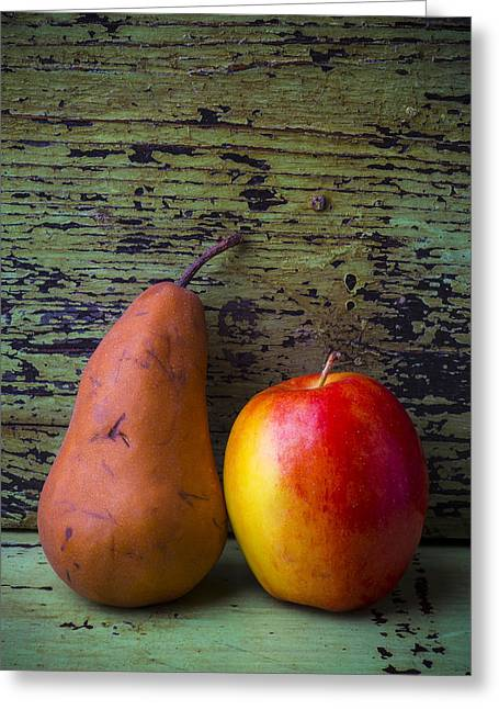 Apple And Pear Greeting Card by Garry Gay