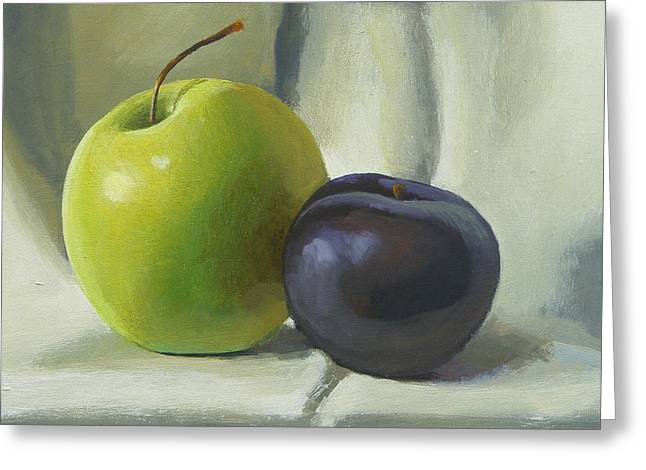 Apple And Plum Greeting Card by Peter Orrock