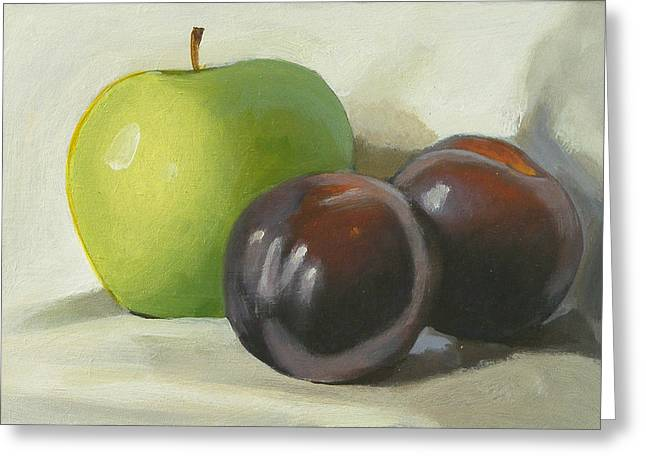 Apple And Plums Greeting Card by Peter Orrock