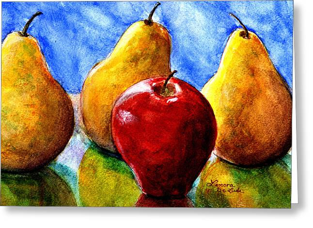 Greeting Card featuring the painting Apple And Three Pears Still Life by Lenora  De Lude