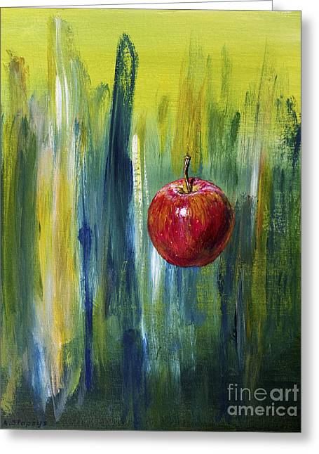 Greeting Card featuring the painting Apple by Arturas Slapsys
