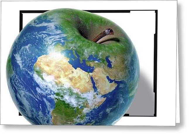 Apple As The Earth Greeting Card by Detlev Van Ravenswaay