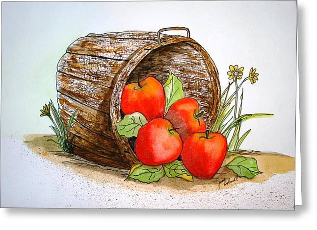 Apple Basket Greeting Card by June Holwell