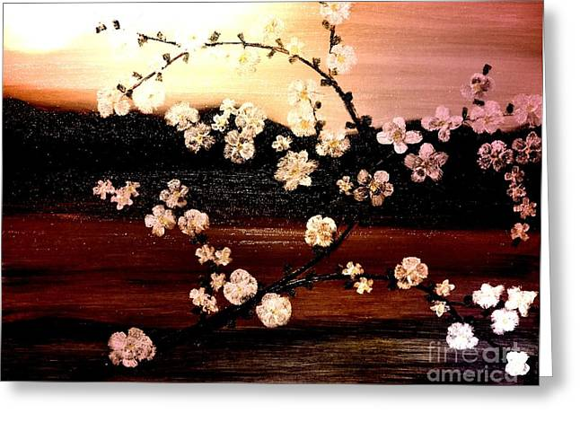Greeting Card featuring the painting Apple Blossom Time by Denise Tomasura