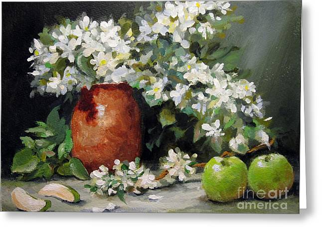 Greeting Card featuring the painting Apple Blossoms by Carol Hart