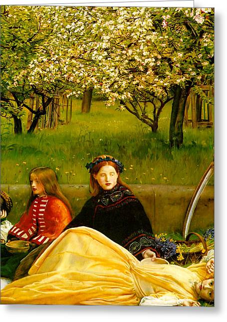Apple Blossoms Greeting Card by John Everette Millais