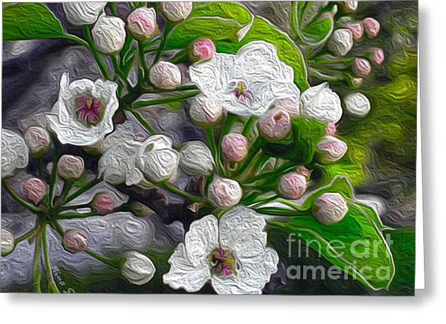Greeting Card featuring the photograph Apple Blossoms In Oil by Nina Silver