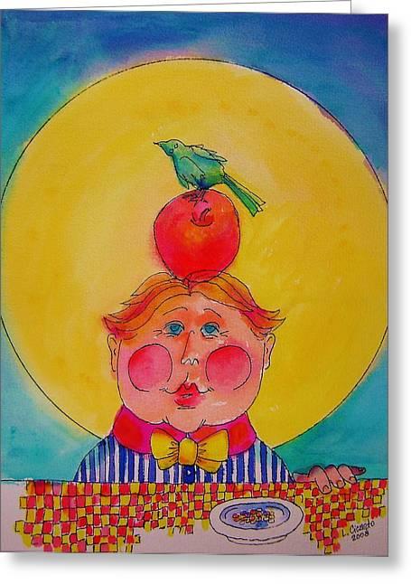 Apple Cheeks Greeting Card by Lou Cicardo
