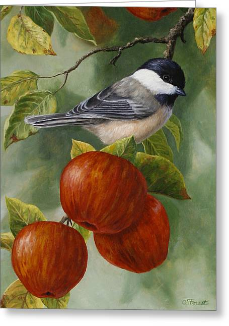Apple Chickadee Greeting Card 2 Greeting Card by Crista Forest