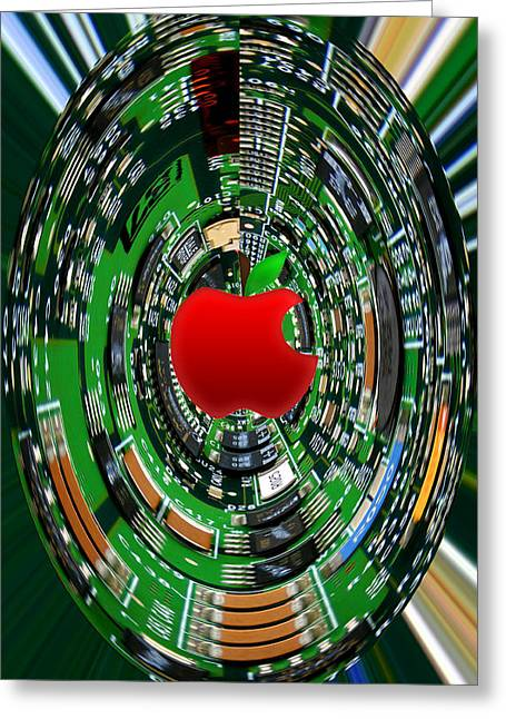 Apple Computer Abstract Greeting Card by Sandi OReilly