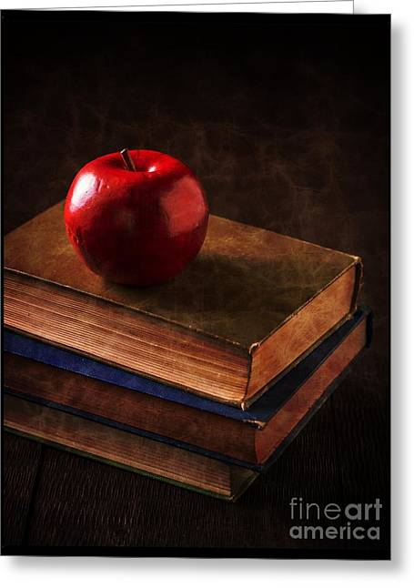 Apple For Teacher Greeting Card by Edward Fielding