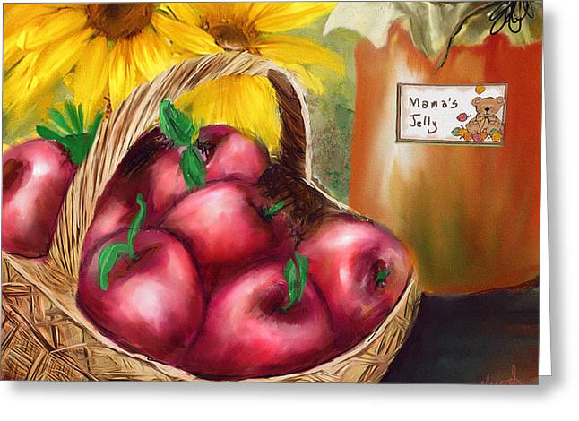 Greeting Card featuring the digital art Apple Harvest by Mary Almond