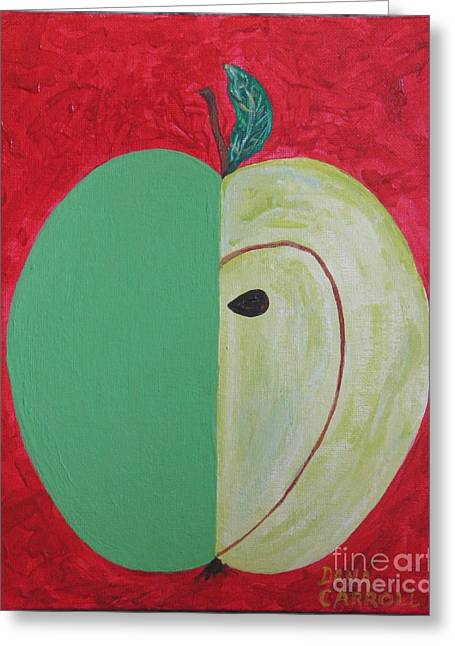 Apple In Two Greens 02 Greeting Card by Dana Carroll