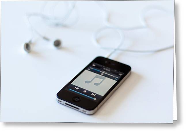 Apple Iphone 4s With Audioplayer And Earphones Greeting Card by Frank Gaertner