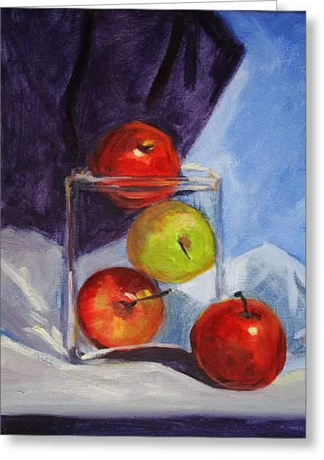 Apple Jar Still Life Painting Greeting Card