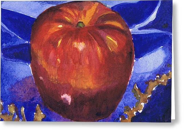 Greeting Card featuring the painting Apple On Blue Tile by Susan Herbst