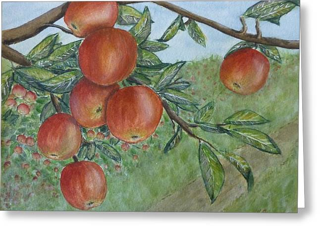 Greeting Card featuring the painting Apple Orchard by Kelly Mills