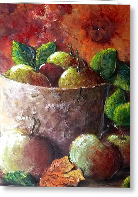 Greeting Card featuring the painting Apple Picking Time by Megan Walsh