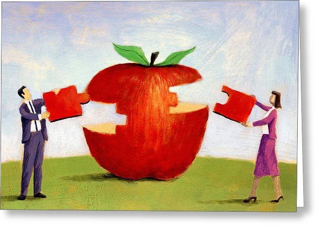 Apple Puzzle Greeting Card by Steve Dininno