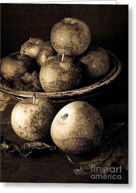 Apple Still Life Black And White Greeting Card by Edward Fielding