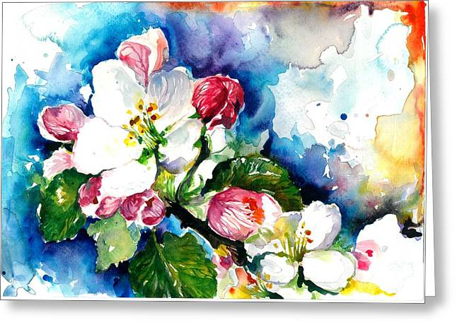 Apple Tree Blossom - Flowers Made In Watercolor Technique On Heavy Paper Greeting Card