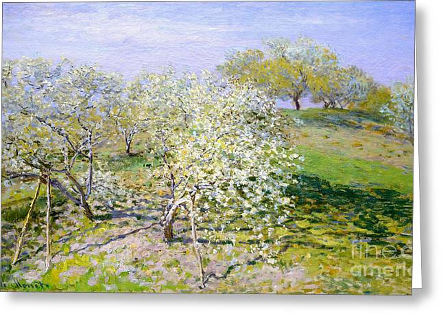 Apple Trees In Bloom 1873 Greeting Card by Claude Monet