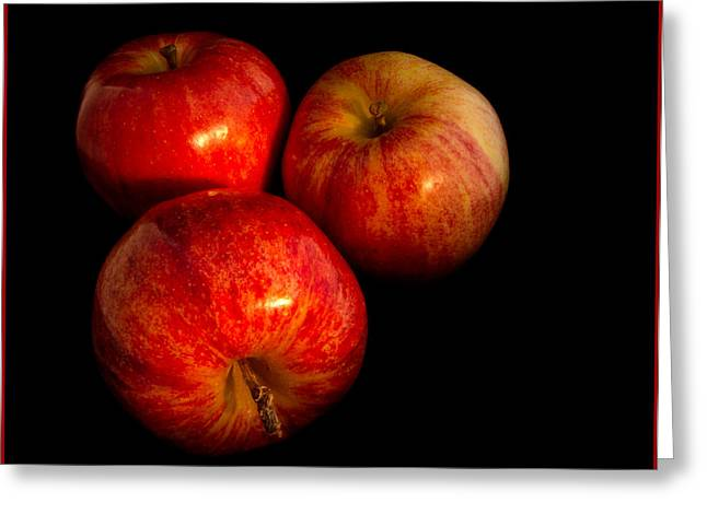 Apple Trio Greeting Card by Jean Noren
