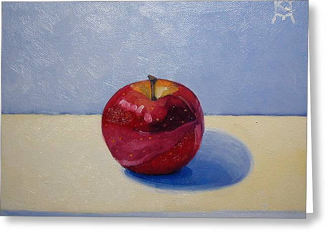 Greeting Card featuring the painting Apple - White And Blue. by Katherine Miller
