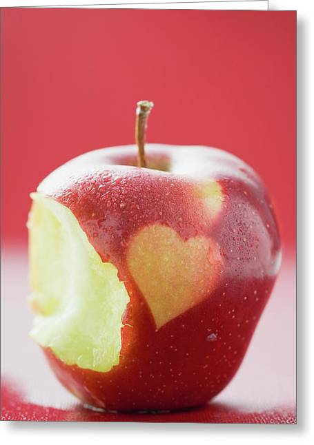 Apple With Heart, Partly Eaten Greeting Card