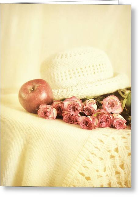 Apple With Roses Greeting Card by Gynt Art