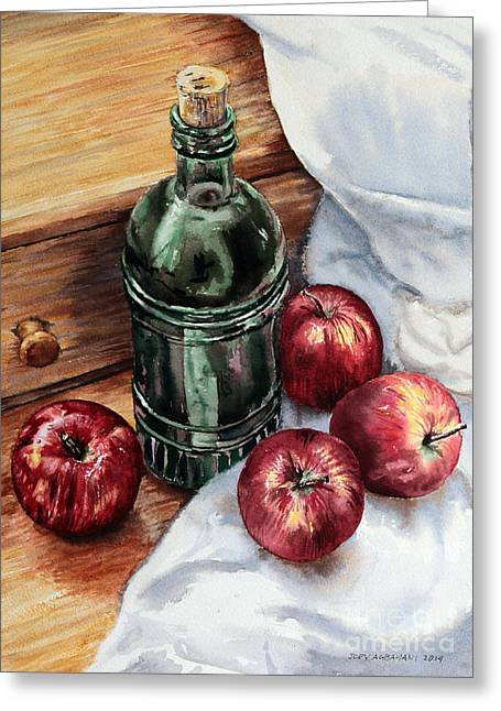 Greeting Card featuring the painting Apples And A Bottle Of Liqueur by Joey Agbayani