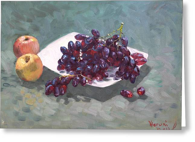 Apples And Grapes Greeting Card by Ylli Haruni