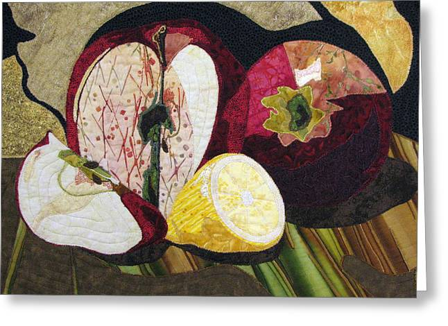 Apples And Lemon Greeting Card by Lynda K Boardman