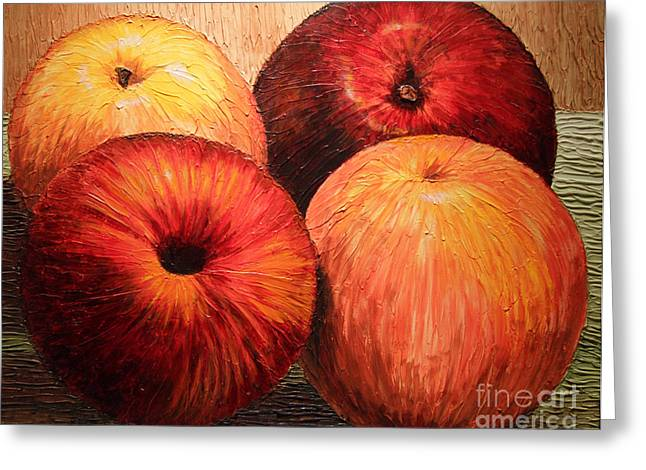 Greeting Card featuring the painting Apples And Oranges by Joey Agbayani