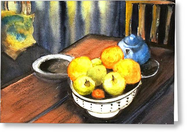 Apples And Oranges - Original Sold Greeting Card by Therese Alcorn