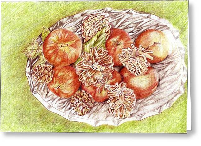 Apples And Pine Cones Greeting Card