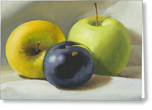 Apples And Plum Greeting Card by Peter Orrock