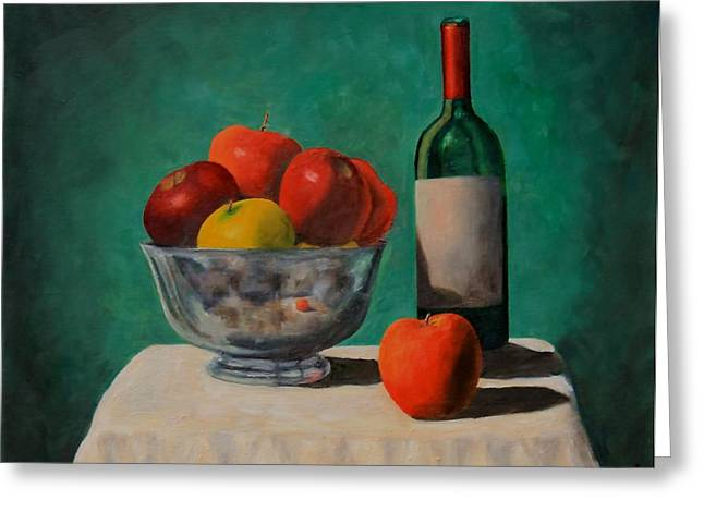 Apples And Wine Greeting Card