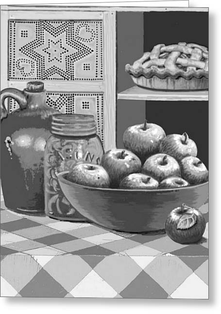 Greeting Card featuring the digital art Apples Four Ways by Carol Jacobs